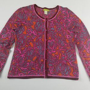 Sigrid Olsen Silk Blend Cardigan Red/Pink/Burgundy